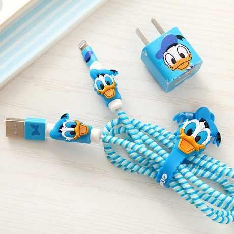 Enrollador de Cable 2017 Nuevo espiral Cable protector organizador Diy set para cargador USB de iPhone pegatinas datos cable protector