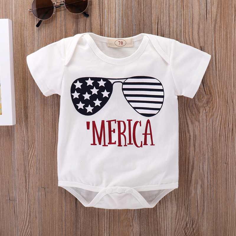 4th of July Newborn Girls Bodysuits Stripes Star Print Baby Boys Sunsuits Onesie Summer White Short Sleeve Infant Overalls 0-18M