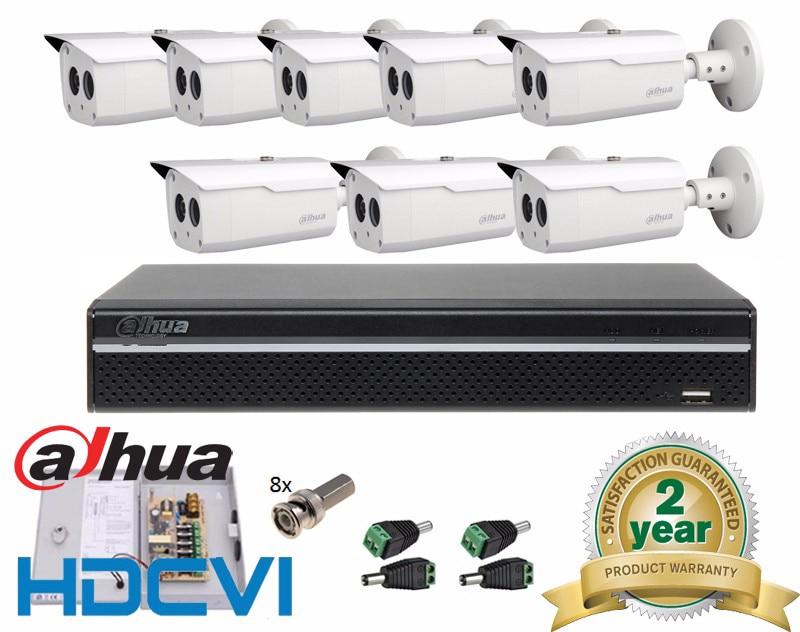 Free Shipping Dahua Dahua High quality HD-CVI 8 channel Security Outdoor Camera System Kit 8PCS 1080P Bullet, 8CH DVR