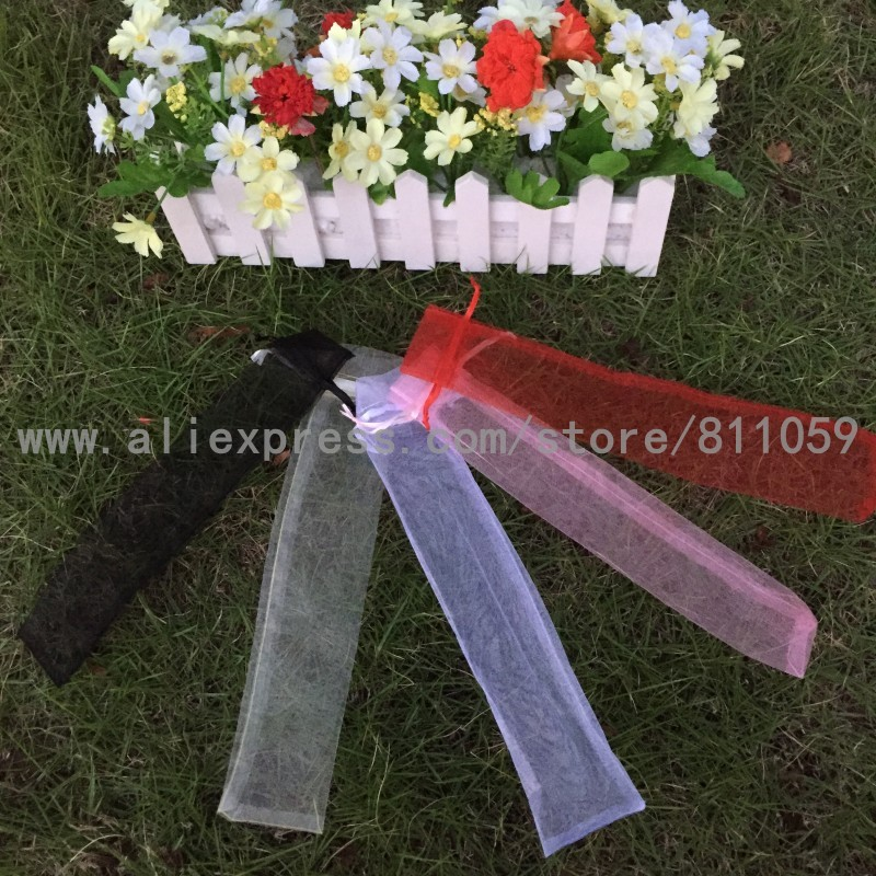 Free shipping 100pcs/lot organza bag gift pouch for hand fans with 6colors for choice