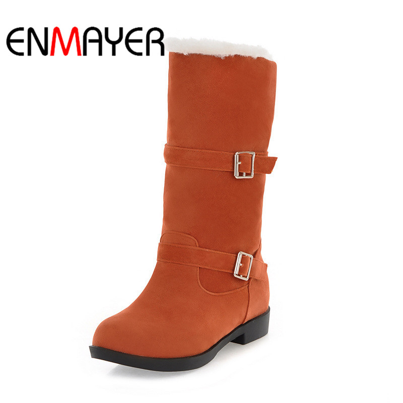ENMAYER Buckle Strap Square Heel 2018 Ladies Cool Black High Heel Woman Casual Shoes Fashion Boots Size Short Plush 34-40 WHY144