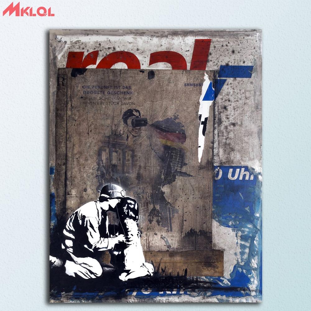 Graffiti Pop Banksy Street SINGLE Leinwand Wand Kunst Bild drucken