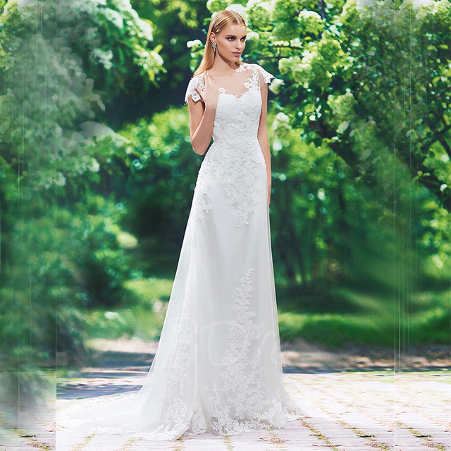 Jewel Neckline Cap Sleeves Appliques Sheath Wedding Dress Cheap Lace