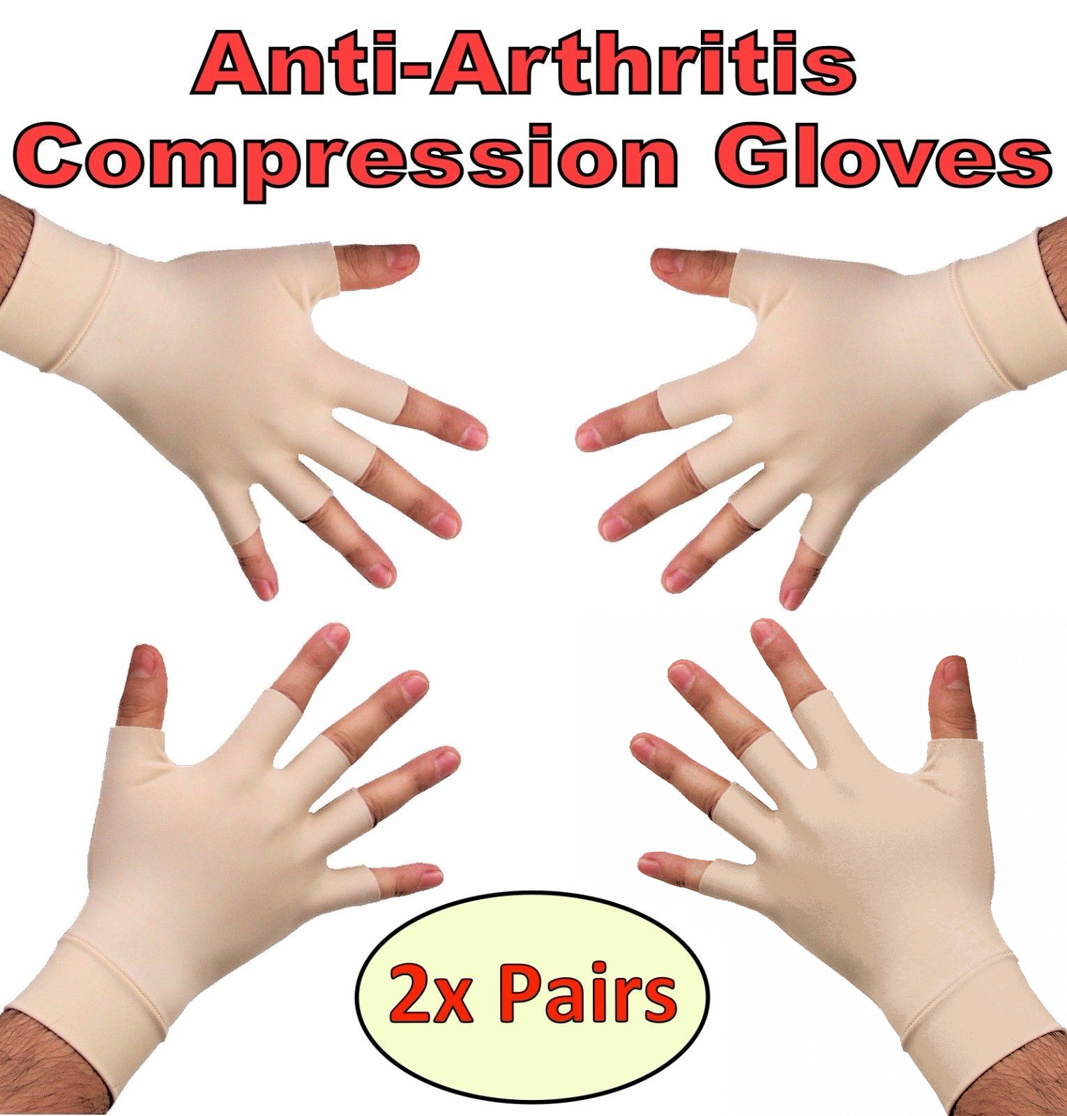 1 Pairs Anti Arthritis Health Therapy Gloves Compression Hand Pain Relief Magnetic Therapy Fingerless Gloves Wrist Hand Support