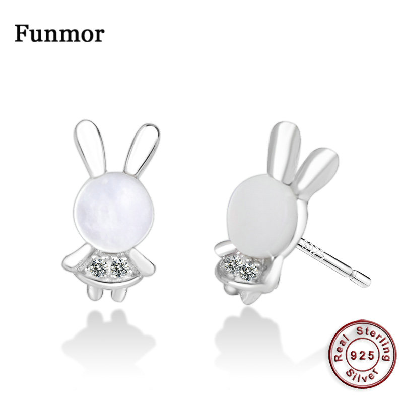 Funmor Rabbit Shape 925 Sterling Silver Stud Ear Jewelry Brincos Earrings Children Girls Daily Holiday Vacation Accessories Gift in Earrings from Jewelry Accessories