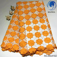 BEAUTIFICAL guipure cord lace fabrics 2019 high quality orange water soluble lace dress with stones for women 5yards/lot ML38G41