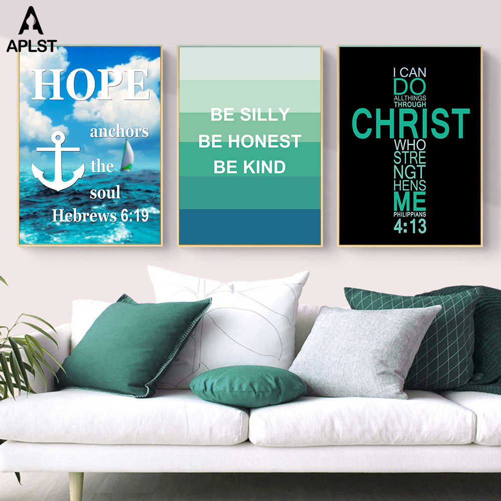 Jesus Christ Cross Posters Bible Hope Quotes Ocean Waves Sailing Boat Canvas Prints Be Honest Words Wall Art Picture Home Decor