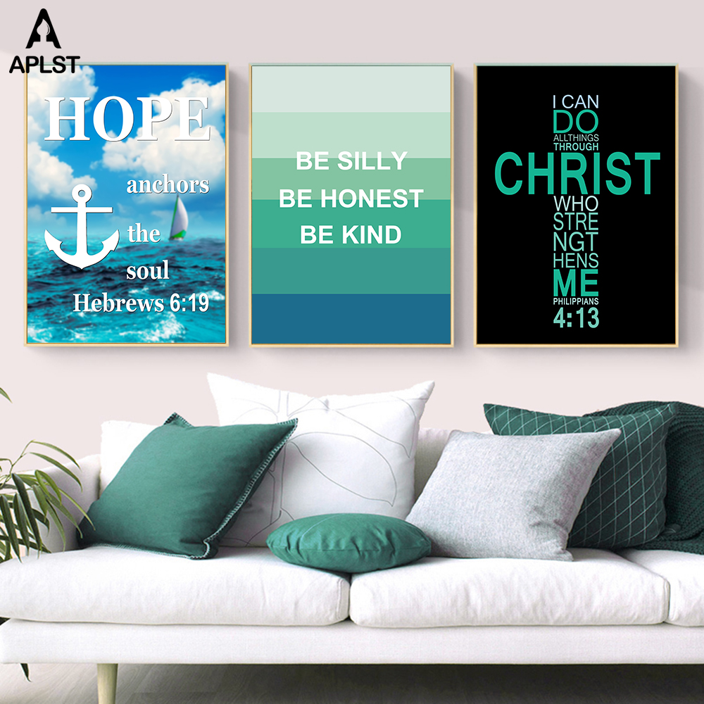 Jesus Christ Cross Posters Bible Hope Quotes Ocean Waves Sailing Boat Canvas Prints Be Honest Words Wall Art Picture Home Decor image