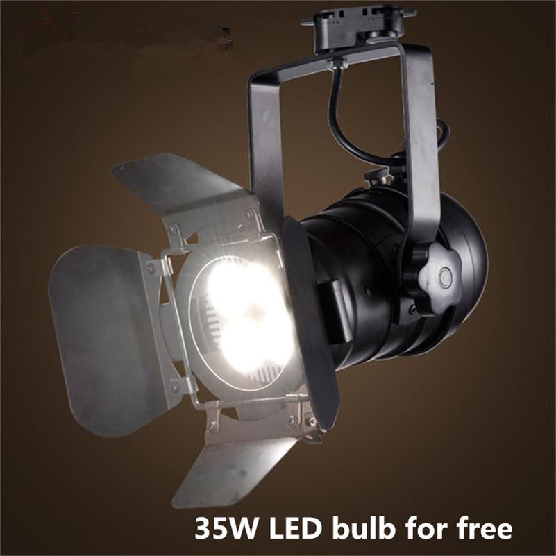 Loft Industrial Retro Track Lighting <font><b>Plafonnier</b></font> Light American Living Room Restaurant Bar Clothing Store Iron Art <font><b>LED</b></font> Spot lamps