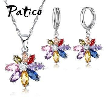 PATICO Venda Quente Oval Limpar CZ Cristal Colorido Projeto Da Flor Conjunto de Jóias esterlina 925-prata-jóias para As Mulheres colar Brincos
