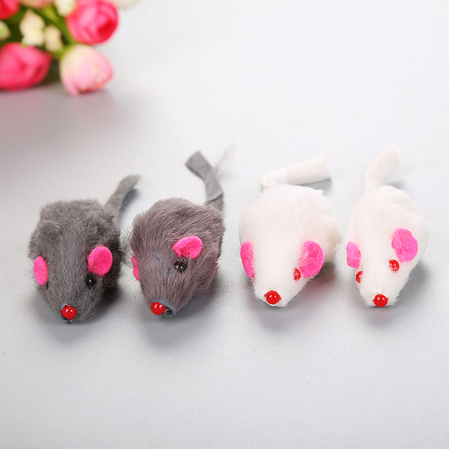 1 pc di Pelliccia di Coniglio Falso Mouse Coda Lunga Fur Little Mouse Pet Gatto