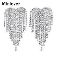 Minlover Siver/Gold Color Bride Wedding Drop Earrings for Women Rhinestone Heart Shape Tassel Dangle Earring Prom Jewelry EH1248 недорго, оригинальная цена