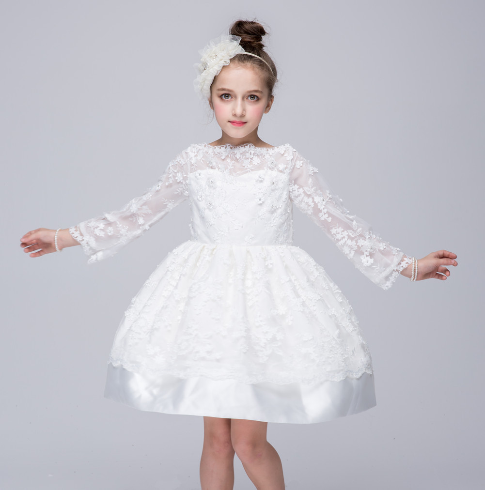 White Long Sleeve First Communion Dresses 2016 Autumn New Lace Party Wedding Bridesmaid Princess Dress Ball Gowns Prom Frocks