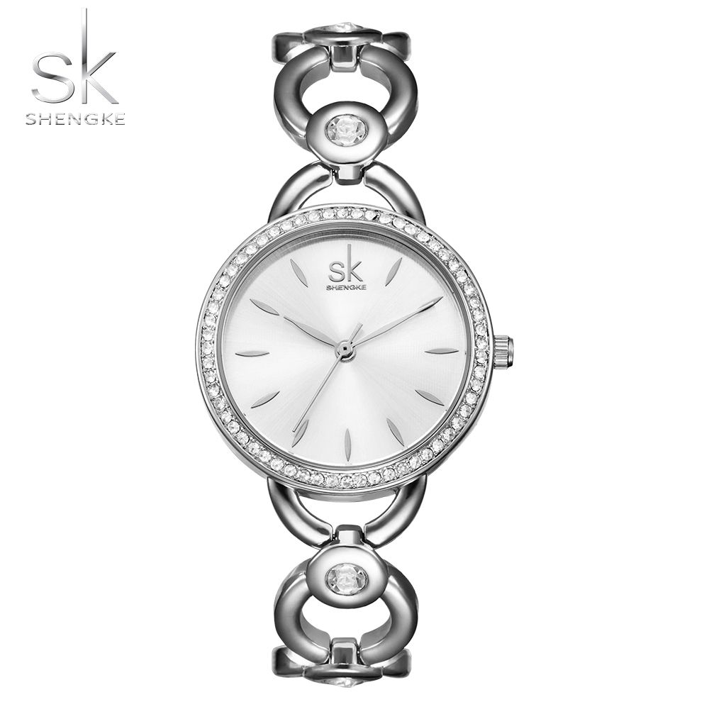 Shengke Brand Lady Simple Small Round Dial Skeleton Bracelet Womens Watches Top Brand Casual Quartz Watch Hot Clock Reloj Mujer