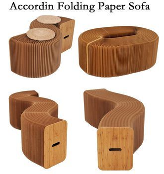 Home Furniture Softeating Modern Design Accordin Folding Paper Stool Sofa Chair Kraft Paper Relaxing Foot  living & Dining Room green sofa chair outdoor bean bag furniture set with foot stool waterproof beanbag home folding chair
