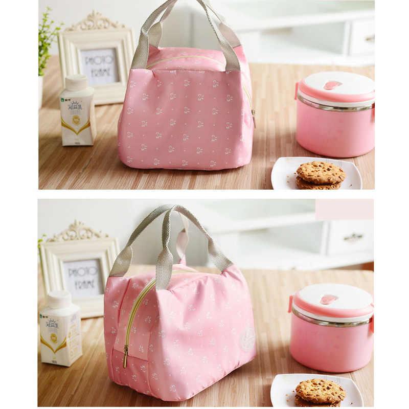 Niebieskie różowe paski Dot przenośne pudełko na lunch torba izolacja termiczna zimno zachować bezpieczne jedzenie łuk pasek ciepłe torby na Lunch dla dziewcząt kobiet