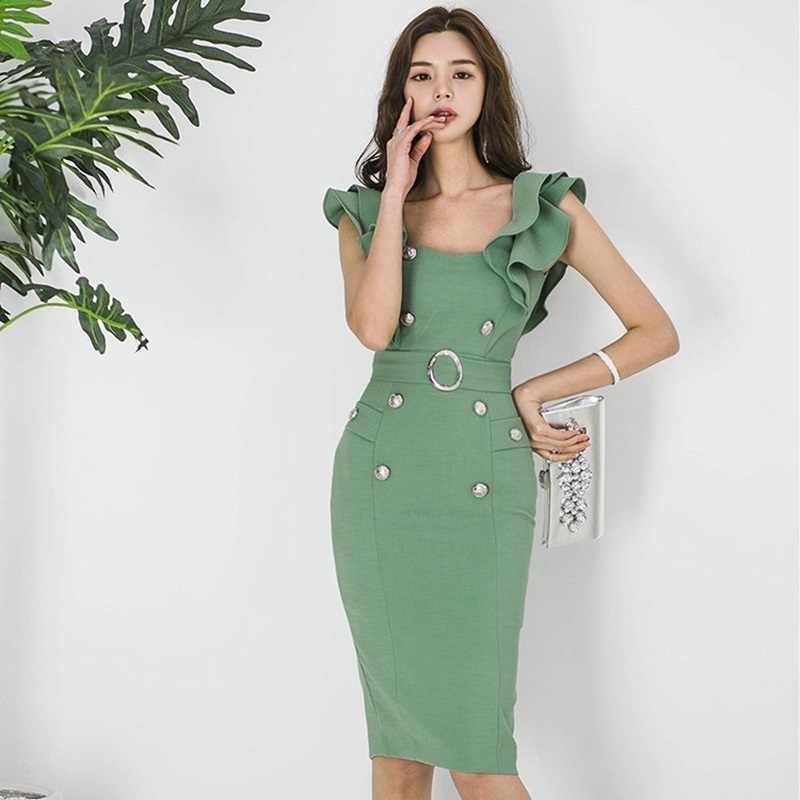 09525bf60b3 Платье-Сарафан Женская Повседневная Сарафан деловые платья для женщин  офисные Южная Корея одежда социального платье