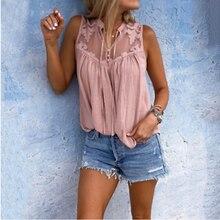 Fashion Women Sleeveless V Neck Blouses Female Ladies Shirts