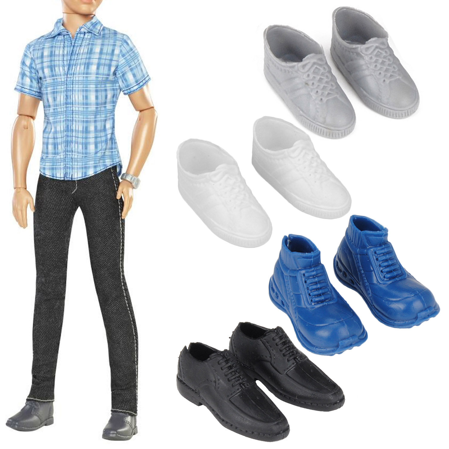 Besegad 4 Pairs Simulation Mini Ken Shoes Dolls Accessories For Barbie Ken Dolls Accessories Kids Girls Christmas Birthday Gifts