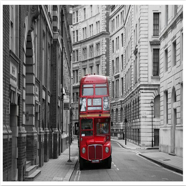 beibehang photo wallpaperEuropean classical art red London Buses hotel hall bedroom living room mural wall paper wall paper