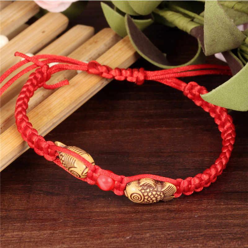 NEWBUY אופנה בסגנון הסיני בעבודת יד אדום חבל כפול עץ דגים גברים נשים מתנה הטובה ביותר עבור תינוק צמיד
