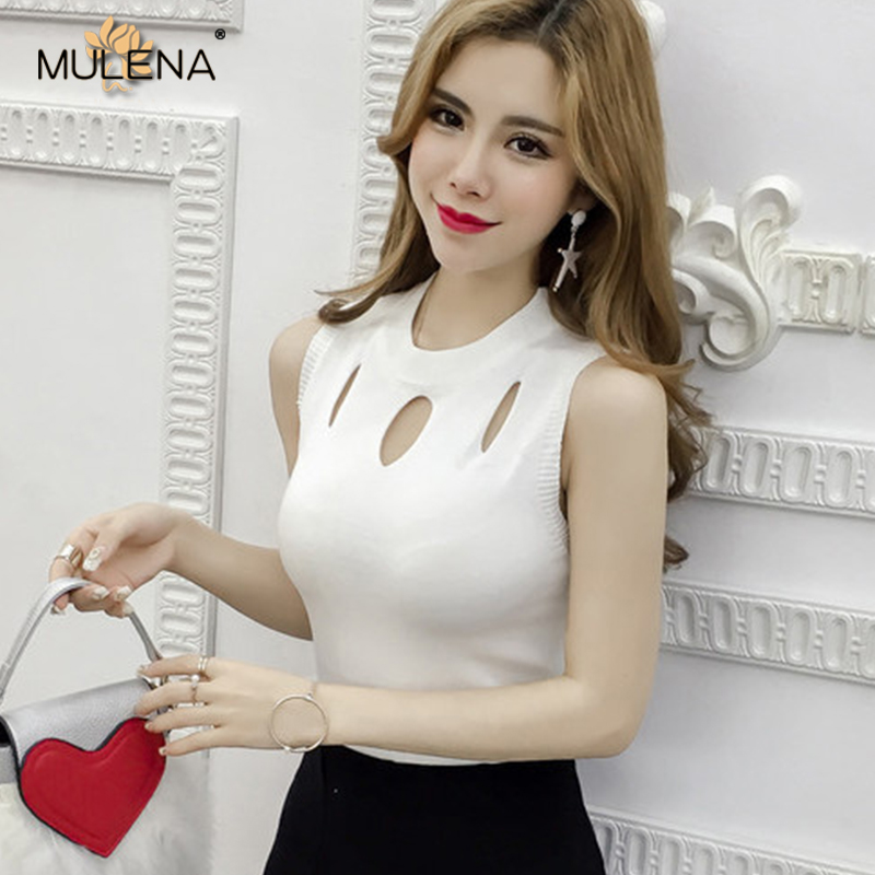 Sexy Hollow Out Knitted Vest Women Slim Elegants Office Lady   Tank     Tops   Summer Soft Sleeveless   Tops   Female Bodycon Vests Girls