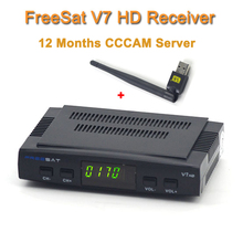 Decodificador de tv Digital por satélite Freesat V7 hd receptor de satélite DVB-S2 HD + WIFI USB powervu con 1 año de Europa servidor CCCam