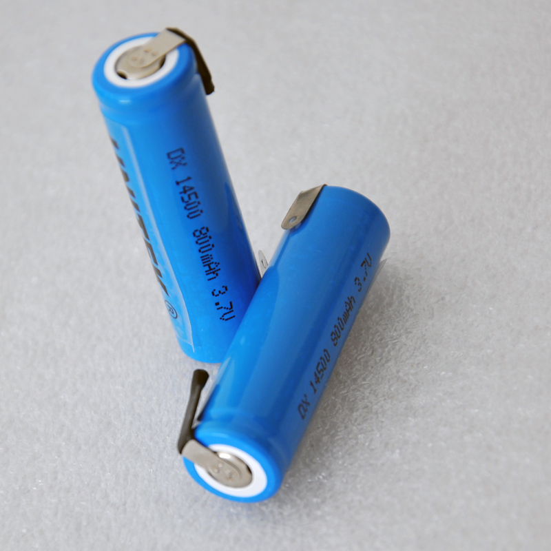 2 pces 3.7v 14500 bateria li-ion recarregável 800mah aa pilha de íon de lítio com guias de soldagem pinos para barbeador elétrico escova de dentes