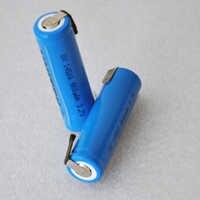 2 uds 3,7 v 14500 batería de iones de litio recargable 800mah AA celda de iones de litio con pinzas de soldadura para cepillo de dientes de Afeitadora eléctrica