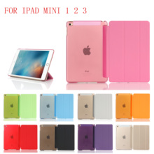 New PC Leather Case for Apple iPad Mini 1 2 3 Fashion Smart Cover + translucent back A1432`A1454`A1489`A1491`A1599