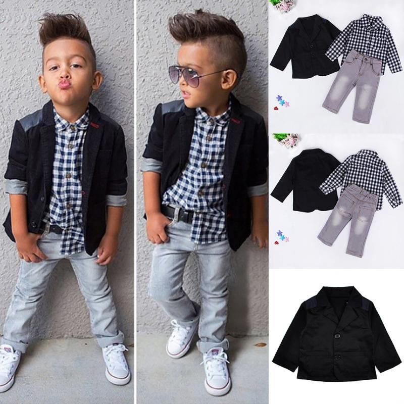 Trendy Little Boys Handsome Clothing Suit Kids Boys Black Coat White ... a1033ffa2327