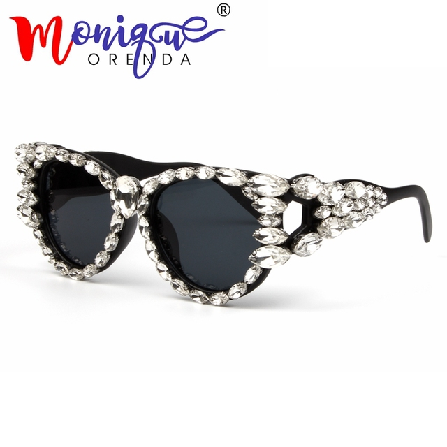 59e6550994 2018 Trending Style Cat eye sunglasses women Brand Designer rhinestone Big Frame  Luxury sun glasses men