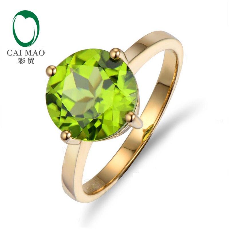 2.27CT круглая огранка Зеленый Перидот Пасьянс 10K желтое золото кольцо