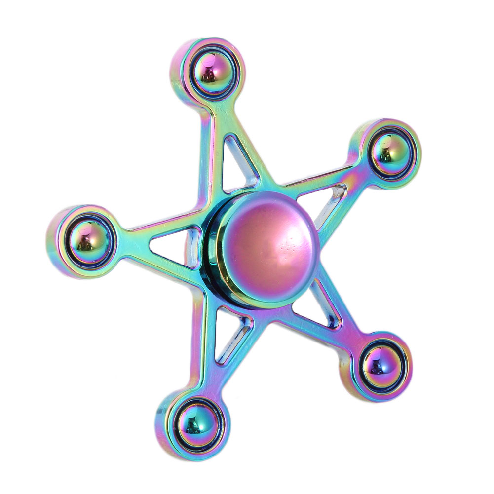 Multicolor Rainbow Five-pointed Star Spinner Fidget Finger Spinner Spinner Hand Brass Fo ...