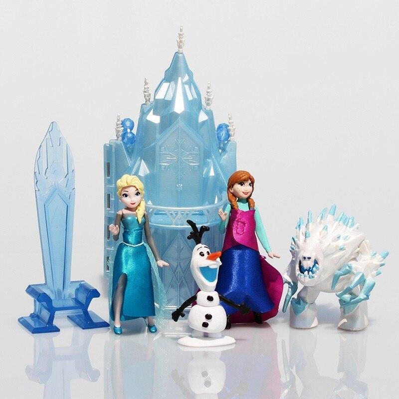 Princess Castle Ice Palace Throne Play Set Elsa Anna PVC Model Toys Set of 6 Snowman Sven Figure Doll Free Shipping ice play футболка