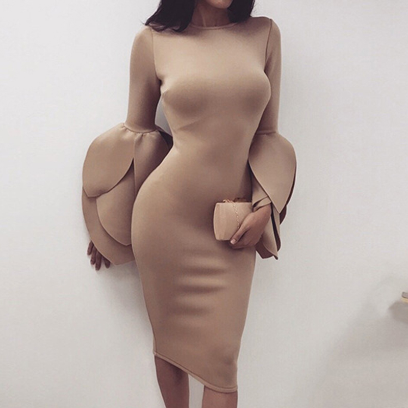 Women Dress Elegant Bandage Party Club Dresses Petal Sleeve Celebrity Party Sexy Night Out Dress Female Vestidos WS4201T