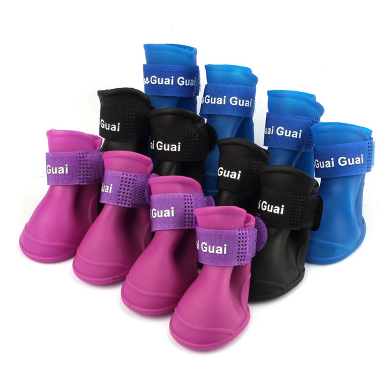 TAILUP For Dogs 4Pcs/ Lot Dog Rain Shoes Dog Clothes Harness Candy Colors Boots Waterproof Booties Rubber Pet Household Supplies