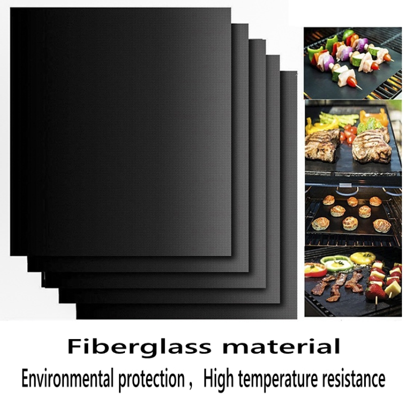 BBQ Grill Mat Barbecue outdoor Baking Non-stick Pad Reusable Teflon Cooking Plate 40 * 30cm For Party PTFE  Grill Mat Tools New strap