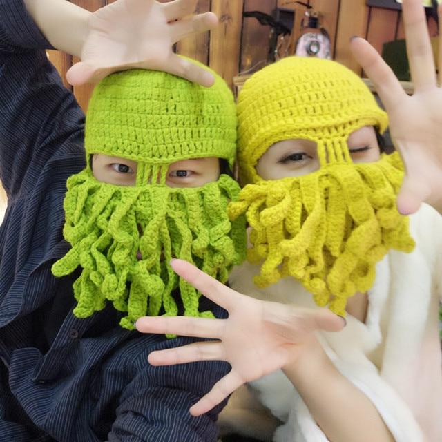 New Handmade Funny Tentacle Octopus Hat Crochet Cthulhu Beard Beanie Men s  Women s Knit Wind Mask Caps Halloween Animal Gift Hat 972983610b2a