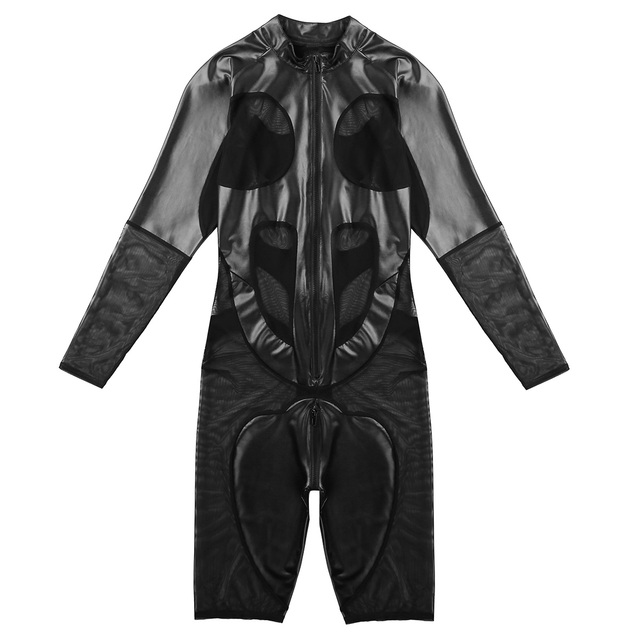 Mens One-piece Sexy Bodysuit Lingerie Gay Male Splice Long Sleeve Zipper Soft Boxer Shorts Leotard Jumpsuit Bodystocking