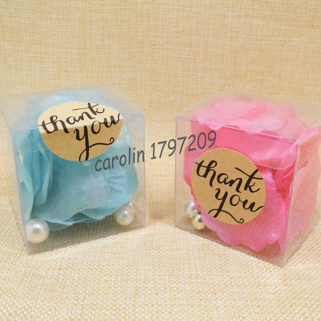 20pcs Clear Pvc Candy Boxes Wedding Favor Box With Thank You Tag
