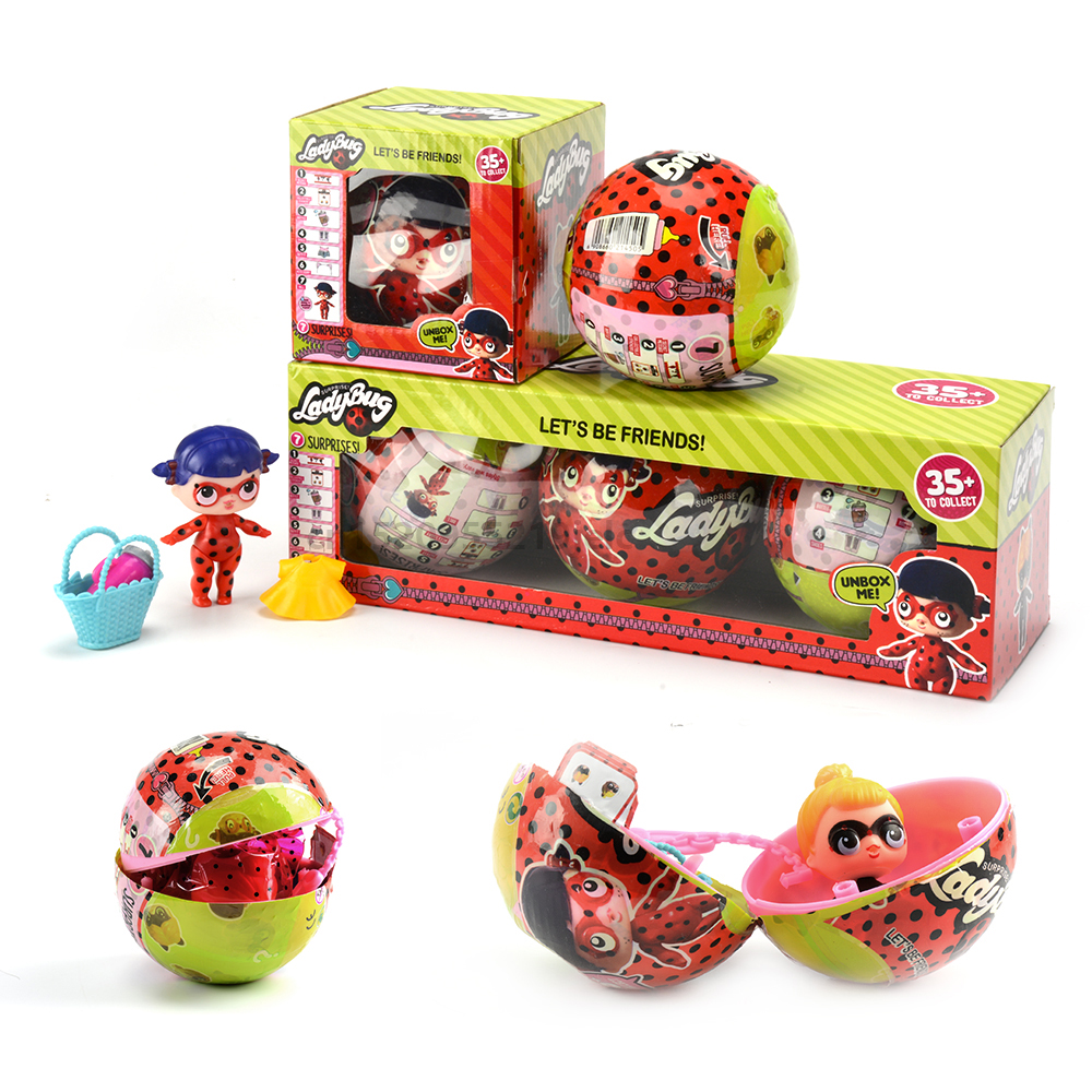 цены NEW Cartoon Ladybug Hatching Egg Miraculous Change For LoL For Surprise Doll Ball Action Figures Toy Anime Girl Birthday Gift