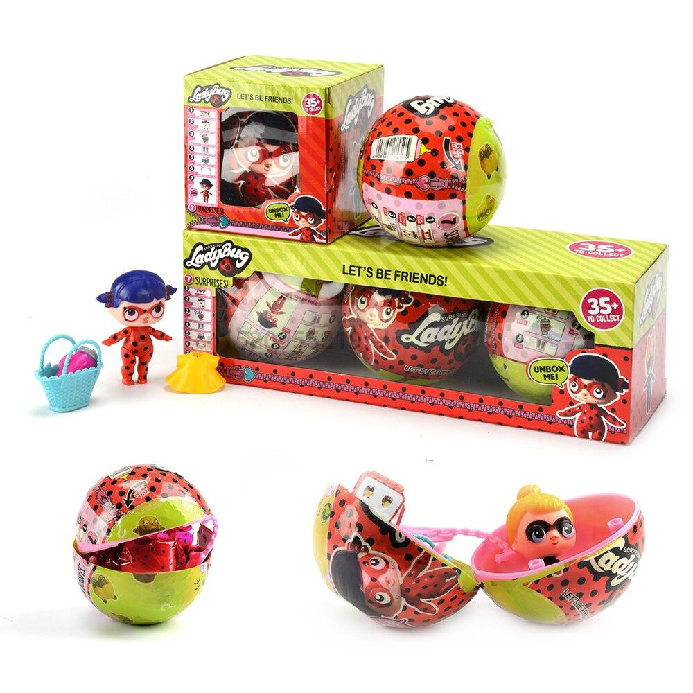 Nuevos dibujos animados mariquita eclosión huevo milagroso cambio para LoL para sorpresa muñeca bola acción figuras juguete Anime chica cumpleaños regalo