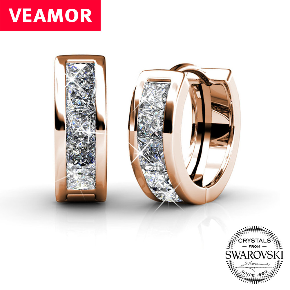 Mother day gift Luxury Ear Cuff Huggie Earrings For Women crystals from swarovski hoop earring White/Rose gold color jewelry