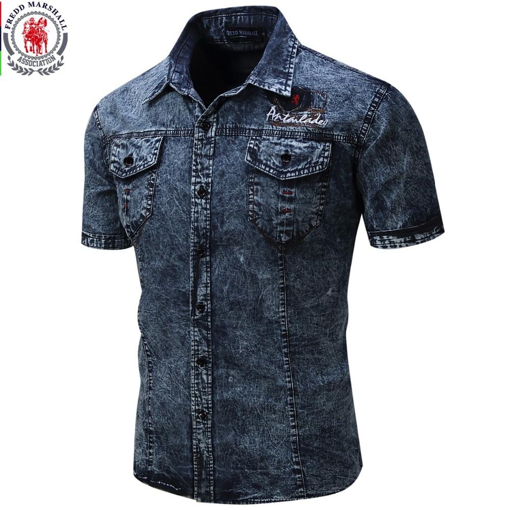 2017 new brand men shirt short sleeve denim shirt mens for Men s dress shirt accessories