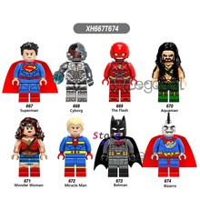 1 Buah Model Blok Bangunan Superhero Superman Cyborg Flash Aquaman Wonder Woman Keajaiban Man Batman Bizarro Mainan untuk Anak-anak Hadiah(China)