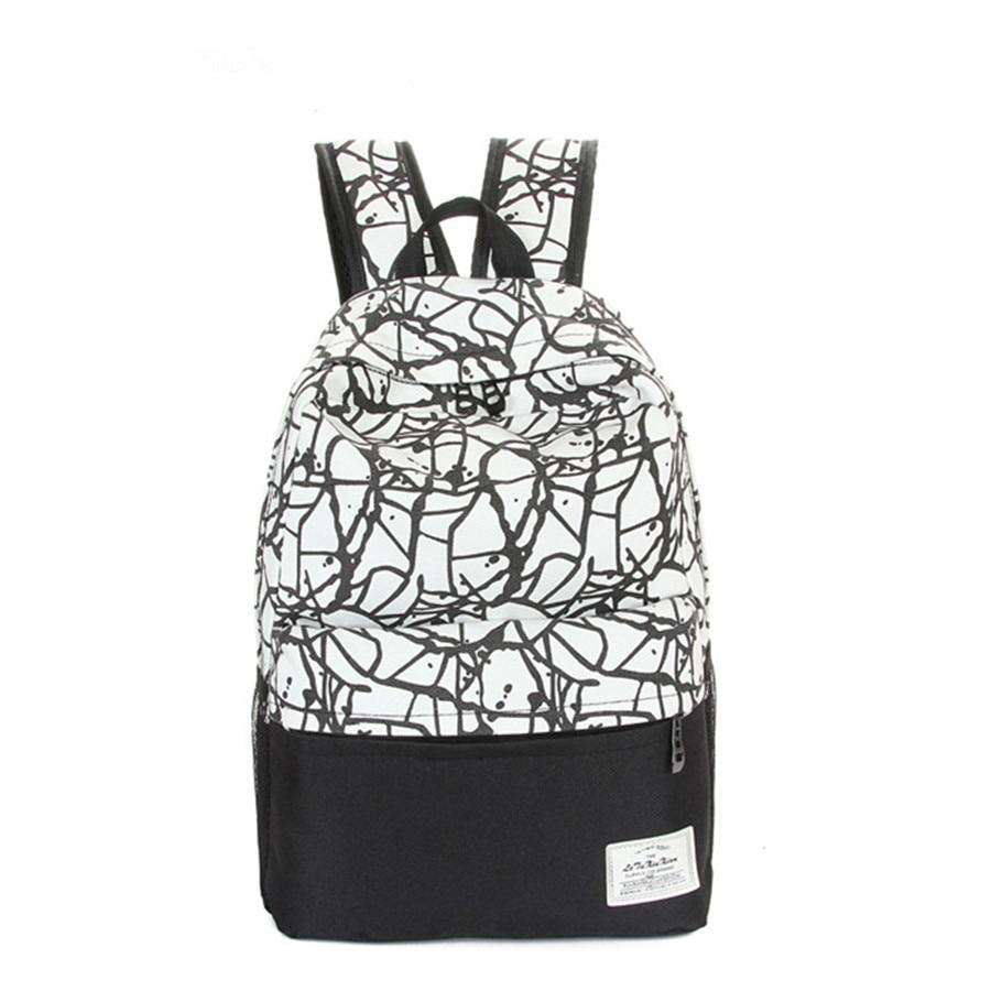 New Fashion Canvas Backpacks Patchwork Graffiti Canvas School Bags For Teenage Girls Travel Bag School Schoolbag