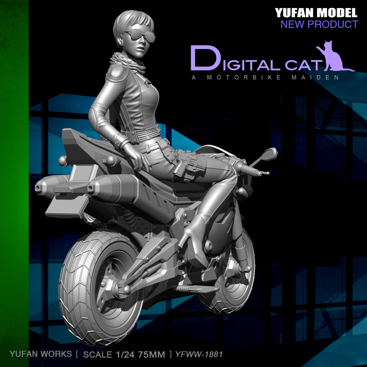 YuFan Model 1/24 Resin Kits  Cool Girl And Motorcycle Set Resin Soldier Model YFWW-1881