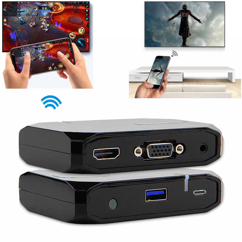 Wireless Wifi USB Data Cable 2in1 VGA HDMI Adapter Display Airplay Phone to TV HDTV For iPhone XR Xiaomi Huawei P30 iOS Android