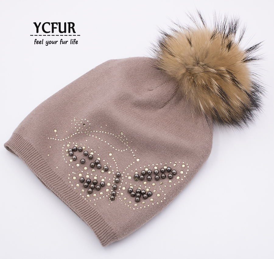YCFUR Winter Autumn Balaclava Hat Cap Women Knit Wool Beanies Hats With Raccoon Dog Fur Pom Pom Caps Skullies For Female 2017 classic russian women super good quality wool beanies hats with real fur ball knit caps solid skullies casual cap